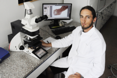 Dr. Daniel Barčák – PhD. student at microscopic examinations of parasites